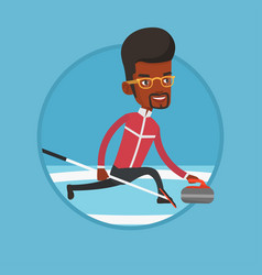 Curling player playing curling on curling rink vector