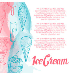 dessert poster with hand drawn ice cream and vector image