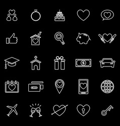 Family line icons on black background vector