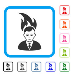 Fired manager framed unhappy icon vector