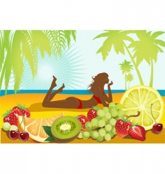 fruits and summer vector image