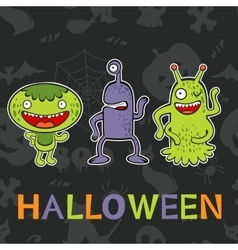 Halloween card with three funny monsters vector image