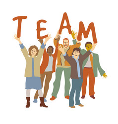 happy team group people isolate on white vector image
