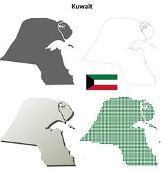 Kuwait outline map set vector