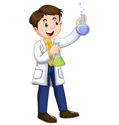 Male scientist holding beakers vector image