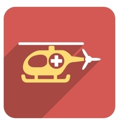 Medical Helicopter Flat Rounded Square Icon with vector image