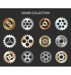 Metal gears or clock cogwheels icons vector