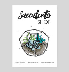 minimalistic flyer template with green succulents vector image vector image