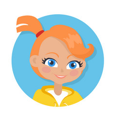 Nice smiling girl with pigtail cartoon style vector