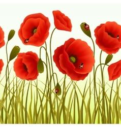 Poppy grass seamless wallpaper vector