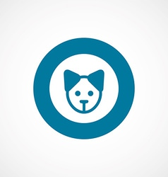Puppy bold blue border circle icon vector