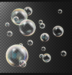 realistic soap bubbles rainbow reflection vector image vector image