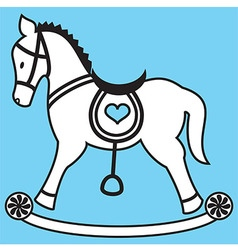 Rocking horse on blue background vector