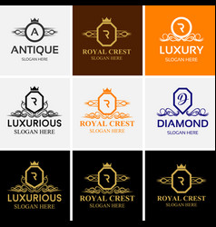 Royal luxury heraldic crest logo set vector
