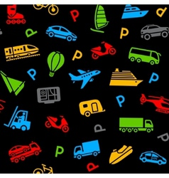 seamless background colors icons transport vector image vector image