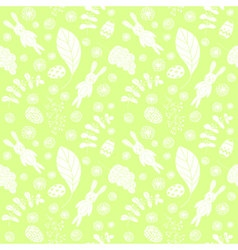 Seamless pattern with cute rabbits and floral vector image