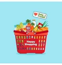Supermarket shopping basket with fresh and natural vector