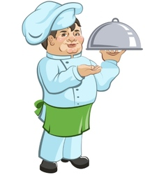 Thick chef cook is a dish vector image vector image