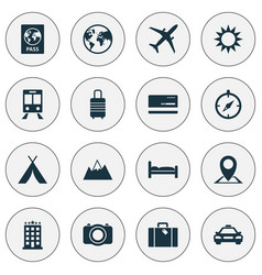 Traveling icons set collection of mount building vector