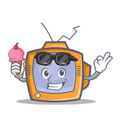 Tv character cartoon object with ice cream vector