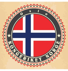 Vintage label cards of norway flag vector