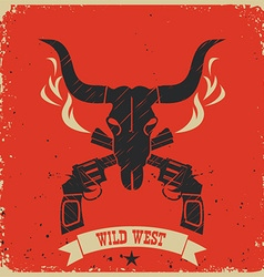 Western wild west poster background on red paper vector image vector image