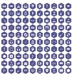 100 audience icons hexagon purple vector