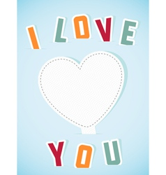 Paper heart banner with text i love you vector