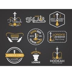 Hookah labels badges and design elements set vector image