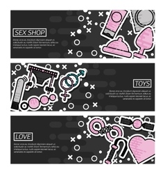 Set of horizontal banners about sex shop vector