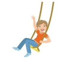 Boy on the rope swings waving vector