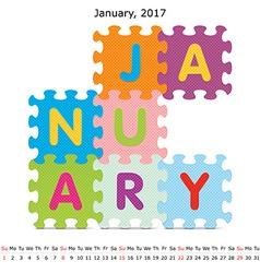 January 2017 puzzle calendar vector image