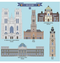 Famous places in belgium vector