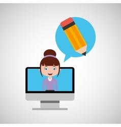 Writing education online design girl vector