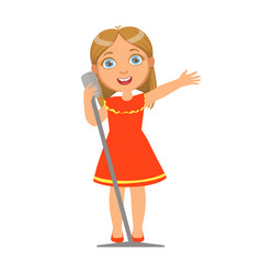 Girl in red dress singing kid performing on stage vector