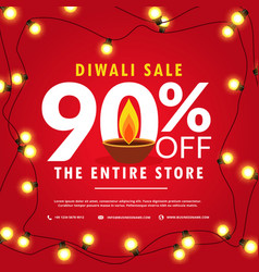 Diwali sale poster and banner with lights on red vector