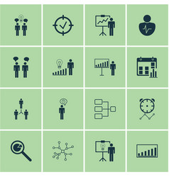 Set of 16 management icons includes team meeting vector