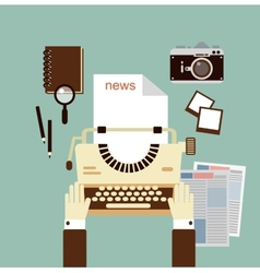 journalist publishes news on a typewriter vector image