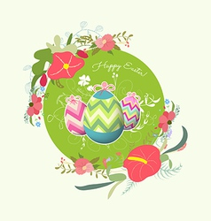 Happy easter with eggs and florals vector