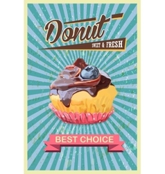Retro cupcake poster promotional sign vector