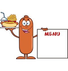Sausage cartoon serving food vector