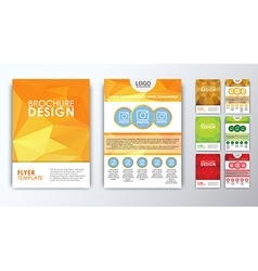 Set of colored polygonal brochures vector