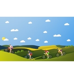 Group of bicycle riders on bikes in mountains and vector