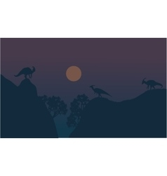 Parasaurolophus in cliff scenery vector