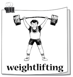 Card with man doing weightlifting vector