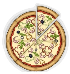 Pizza with shrimp color picture vector