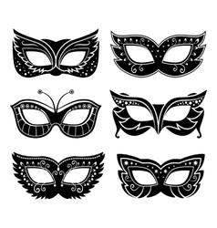 Black carnival masks vector image vector image