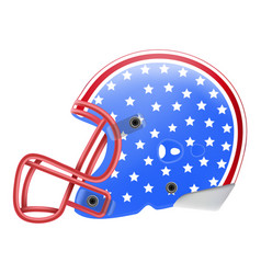 Blue american football helmet with stars side view vector