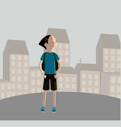 boy in uniform going to school with backpack vector image