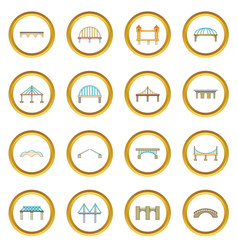 Bridge construction icons circle vector